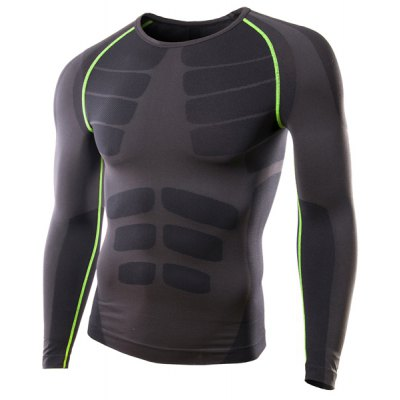Slimming Pullover Round Collar Printed Long Sleeves Cycling T-Shirt For Men