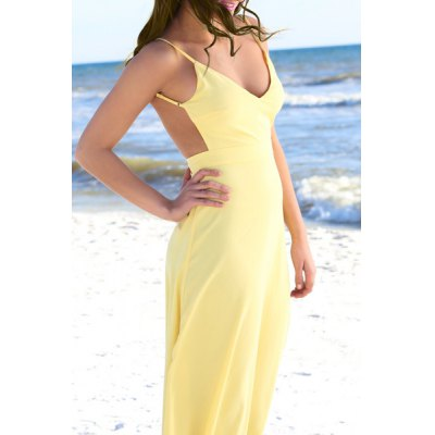 Sexy Spaghetti Strap Sleeveless Backless Solid Color Maxi Dress For Women