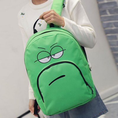 Leisure Expression Pattern and Zipper Design Backpack For Women