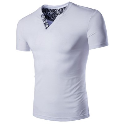 Slimming Solid Color V-Neck Short Sleeves T-Shirt For Men
