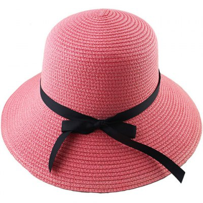 Fashionable Bowknot Embellished Solid Color Straw Hat For Women
