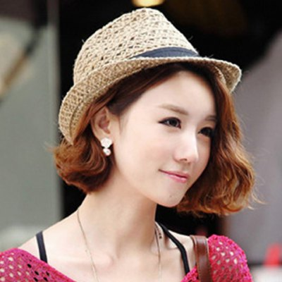 Fashionable Simple Design Hollow Out Straw Hat For Women