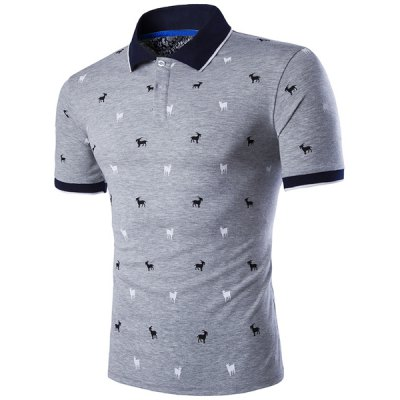 Slimming Animals Printed Turn Down Collar Short Sleeves T-Shirt For Men
