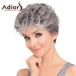Spiffy Short Silvery Gray Heat Resistant Fiber Fluffy Wavy Capless Wig For Women