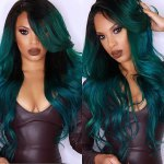 Stunning Long Side Parting Shaggy Wavy Blackish Green Ombre Synthetic Wig For Women