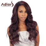 Stylish Long Brown Ombre Synthetic Fluffy Wavy Side Parting Long Wig For Women