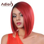Fashion Short Ombre Color Side Parting Straight Synthetic Wig For Women