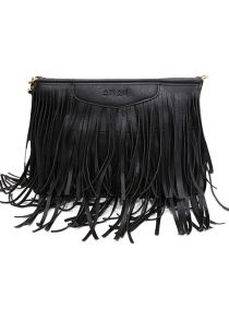 Stylish Metal and Fringe Design Crossbody Bag For Women