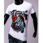 cheap 3D Skull Doctor and Letters Print Round Neck Short Sleeve T-Shirt For Men
