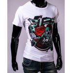 3D Skull Doctor and Letters Print Round Neck Short Sleeve T-Shirt For Men deal