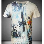 cheap Casual V-Neck Number Printed Short Sleeves T-Shirt For Men