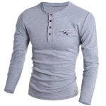 cheap Round Neck Edging Design Long Sleeve Buttons Embellished T-Shirt For Men