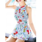 Sexy High Neck Print Ruffled One-Piece Swimwear For Women deal