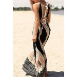 cheap Sleeveless Backless Colored Hollow Out Maxi Braless Dress