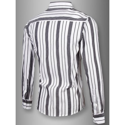 Turn-Down Collar Slimming Long Sleeve Vertical Stripe Shirt For MenMens Shirts<br>Turn-Down Collar Slimming Long Sleeve Vertical Stripe Shirt For Men<br><br>Shirts Type: Casual Shirts<br>Material: Cotton,Polyester<br>Sleeve Length: Full<br>Collar: Turn-down Collar<br>Weight: 0.550KG<br>Package Contents: 1 x Shirt