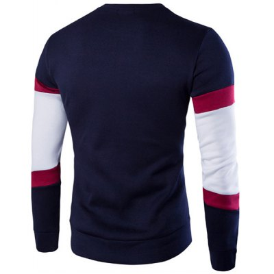 Slimming Long Sleeves Round Collar Pullover Color Block Sweatshirt For MenMens Hoodies &amp; Sweatshirts<br>Slimming Long Sleeves Round Collar Pullover Color Block Sweatshirt For Men<br><br>Material: Cotton Blends<br>Clothing Length: Regular<br>Sleeve Length: Full<br>Style: Active<br>Weight: 0.850KG<br>Package Contents: 1 x Sweatshirt