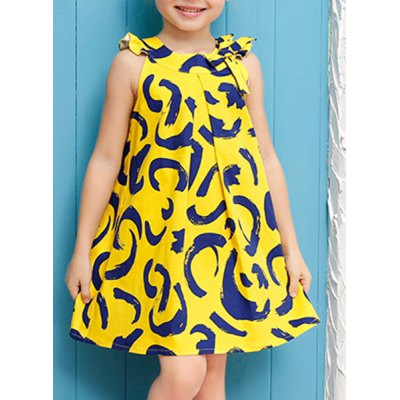Stylish Sleeveless Round Neck Printed A-Line Dress