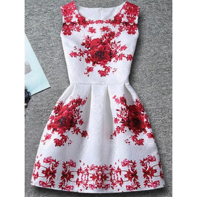 Sleeveless Floral Print Dress For Girl