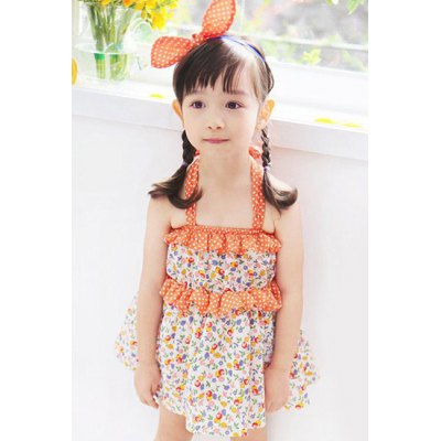Country Style Halter Floral Print Flounced Mini Dress For Girl
