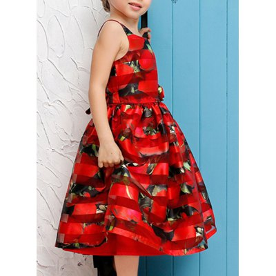 sweet-sleeveless-square-neck-rose-print-girl-dress