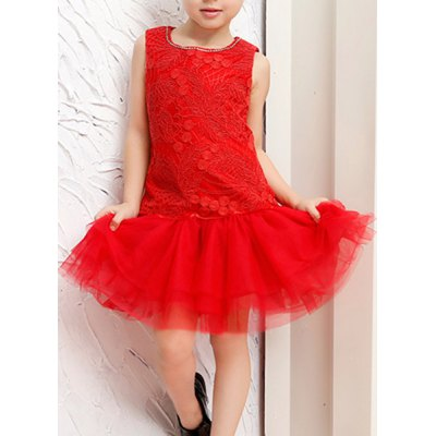 Sweet Sleeveless Round Neck Lace Girl's Ball Gown Dress