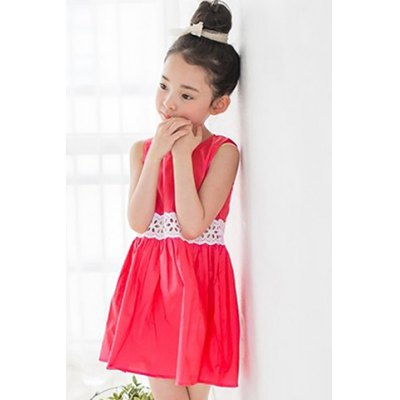 Sweet Sleeveless Round Neck Lace Spliced A-Line Dress