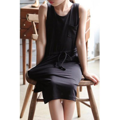 Casual Sleeveless Self-Tie Pocket Design Solid Color Dress