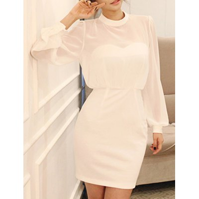 Sexy Stand Collar Long Sleeve Cut Out Pure Color Women's Chiffon Dress