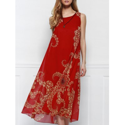 Women's Bohemian Style Red Print Sleeveless Scoop Neck Beach Dress
