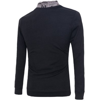 Slim Fit Pullover Faux Twinset Button Design Long Sleeves T-Shirt For Men