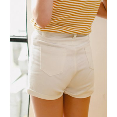 Stylish High Waist Solid Color Shorts For Women
