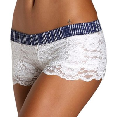 Sexy Elastic Waist Striped Lace Shorts For Women