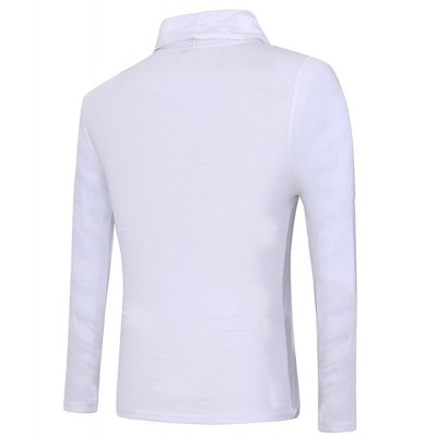 Slim Fit Pullover Faux Twinset Design Color Block Long Sleeves T-Shirt For Men