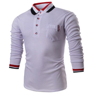 Turn-Down Collar Long Sleeve Color Block Stripe Spliced Polo T-Shirt For Men