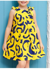 Stylish Sleeveless Round Neck Printed Girl's A-Line Dress