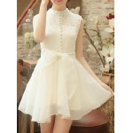 Chic Stand Collar Sleeveless Asymmetrical Solid Color Women's Dress