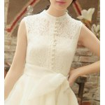 Chic Stand Collar Sleeveless Asymmetrical Solid Color Women's Dress for sale
