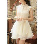 cheap Chic Stand Collar Sleeveless Asymmetrical Solid Color Women's Dress