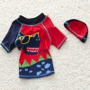 cheap Stylish Cartoon Print Short Sleeve T-Shirt + Pants + Hat Boy's Swimsuit