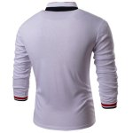 cheap Turn-Down Collar Long Sleeve Color Block Stripe Spliced Polo T-Shirt For Men