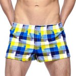 Loose-Fitting Plaid Print Elastic Waist Men's Boxer Brief