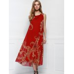 best Women's Bohemian Style Red Print Sleeveless Scoop Neck Beach Dress