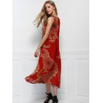 Women's Bohemian Style Red Print Sleeveless Scoop Neck Beach Dress for sale