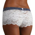 Sexy Elastic Waist Striped Lace Shorts For Women deal