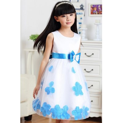 Sleeveless Bowknot Design Petal Embellish Dress For Girl