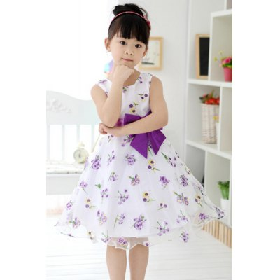 Sleeveless Bowknot Design Floral Pattern Dress For Girl