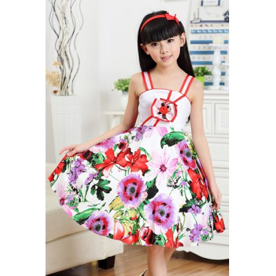 Fashionable Spaghetii Strap Floral Print Dress For Girl
