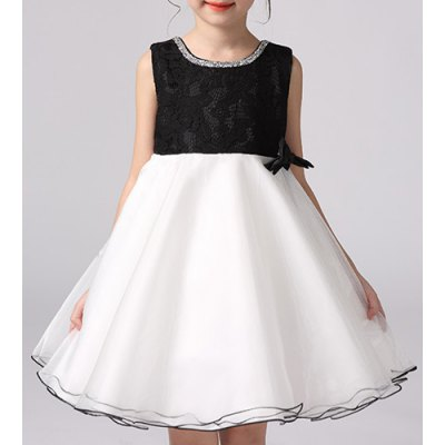 Sweet Sleeveless Round Neck Ball Gown Bowknot Dress