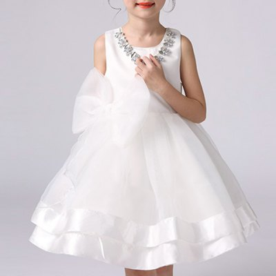 Fashionable Sleeveless Bowknot Design White Ball Gown Dress For Girl