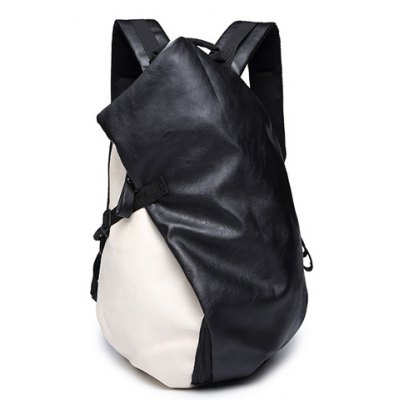 Trendy PU Leather and Colour Block Design Backpack For Men